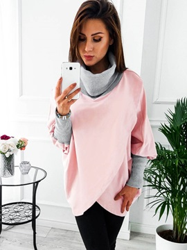 High Neck Asymmetric Womens Hoodie