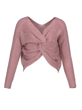 Beading Decorative Pleated Plain Womens Sweater