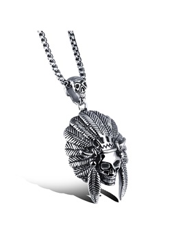 Retro Style Pendant Stainless Steel Mens Necklace