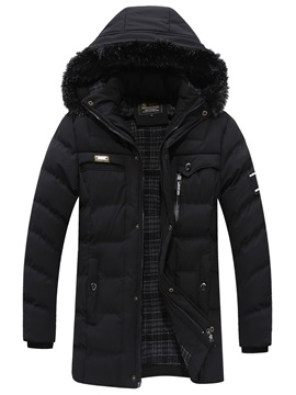 Tidebuy Plain Hooded Zipper Mid Length Mens Winter Coat