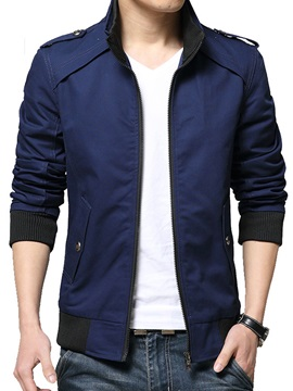 Tidebuy Casual Plain Stand Collar Zipper Mens Jacket