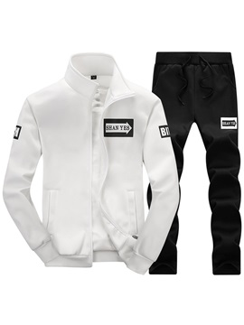 Stand Collar Jacket Pants Sports Mens Outfit