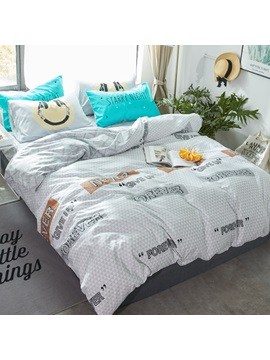 Wannaus Letters Printed Cotton Simple Style Gray Kids Duvet Covers Bedding Sets