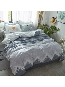 Wannaus Waves Printed Cotton Simple Style Gray Kids Duvet Covers Bedding Sets