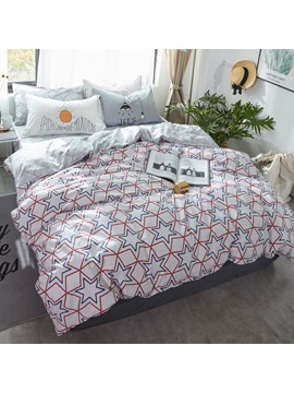 Wannaus Stars Printed Cotton Nordic Style White Kids Duvet Covers Bedding Sets