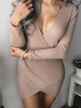 Tidebuy Long Sleeves Deep V Bodycon Womens Dress