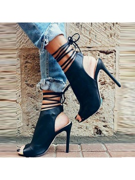Pu Lace Up Open Toe Stiletto Black Shoes