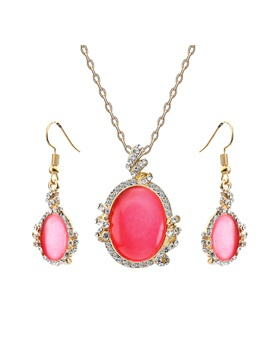 Oval Shape Rhinestone Decorated Two Piece Jewelry Sets