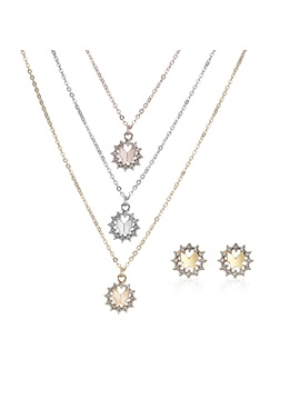 Hot Sale Hollow Pattern E Plating Necklace Earrings Jewelry Sets