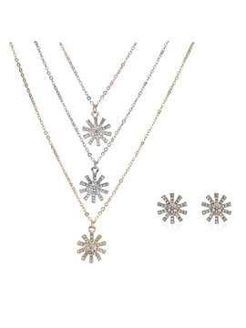 Imitation Diamond Inlaid Multi Layer Pendent Necklace Earrings Jewelry Sets