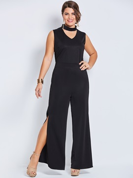 Black Sleeveless Hollow Plus Size Womens Jumpsuit