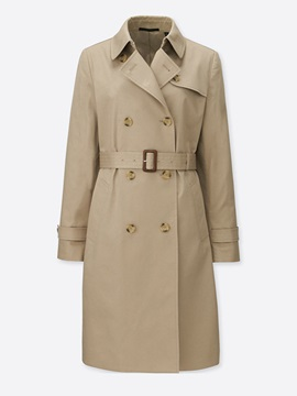 Long Sleeve Lapel Regular Plain Trench Coat