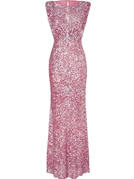 Sleeveless Sequins Backless Womens Maxi Dress