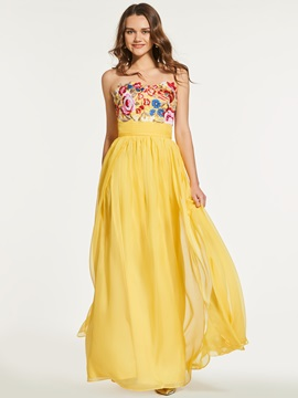 Embroidery A Line Sweetheart Split Front Prom Dress