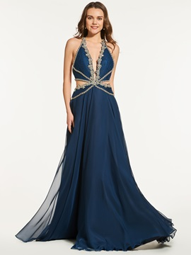 Chic A Line Beading Backless Halter Prom Dress