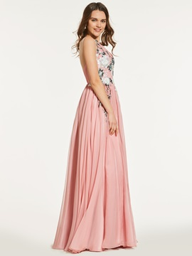 A Line Appliques Scoop Prom Dress