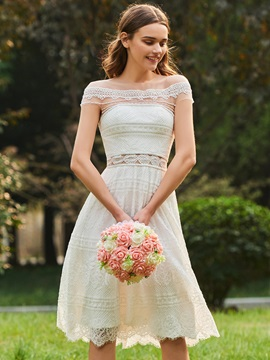 Sheer Neck Short Sleeve Beading Lace Bridesmaid Dress