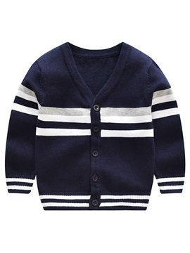V Neck Stripe Single Breasted Boys Cardigan