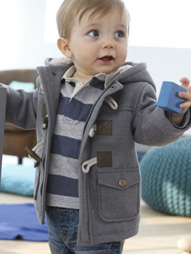 Zipper Horn Button Hooded Thick Boys Coat