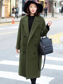 Long Sleeve Plain Women Trench Coat