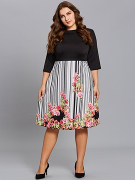 Floral Print Stripe Patchwork Plus Size Womens Skater Dress