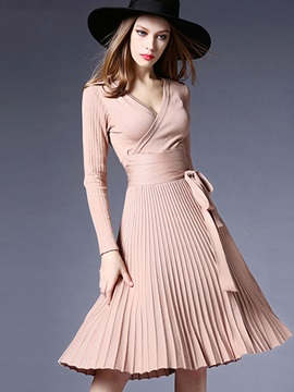 V Neck Pleated Lace Up Womens Sweater Dress
