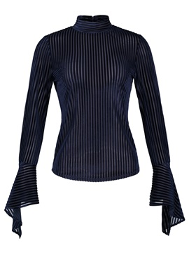 Flare Sleeve Slim Stripe Women Blouse