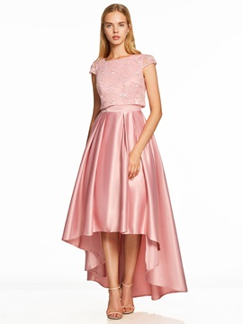Scoop Neck Cap Sleeves Asymmetry Prom Dress