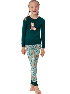 Christmas Squirrel Print Color Block Unisex Outfit Pajamas