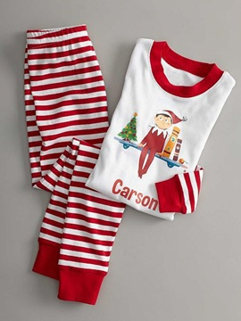 Christmas Stripe Print Color Block Unisex 2 Pcs Outfit Pajamas