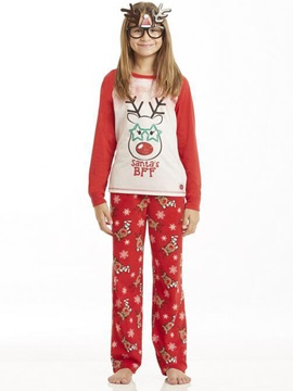 Christmas Letter Deer Print Unisex Outfit Pajamas