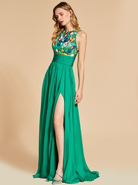 Empire A Line Embroidery Scoop Prom Dress