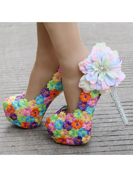 Pu Beads Floral Rhinestone Wedding Shoes