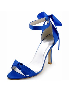 Silk Fabric Open Toe Heel Covering Blue Wedding Shoes