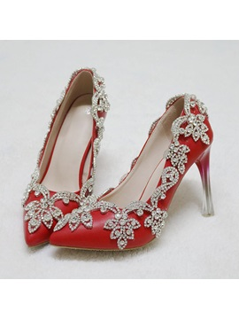 Pu Slip On Rhinestone Pointed Toe Red Wedding Shoes