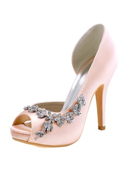 Silk Fabric Hollow Rhinestone Stiletto Wedding Shoes
