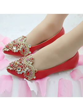 Pu Pointed Toe Rhinestone Flat Wedding Shoes