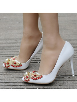 Pu Beads Rhinestone Slip On White Wedding Shoes