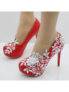Pu Beads Rhinestone Slip On Wedding Shoes