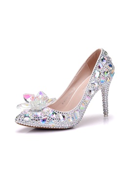 Pu Rhinestone Stiletto Pointed Toe Wedding Shoes