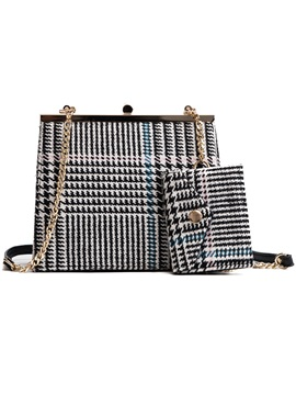 Chic Stripe Pattern Chain Bag Set Two Bags Set