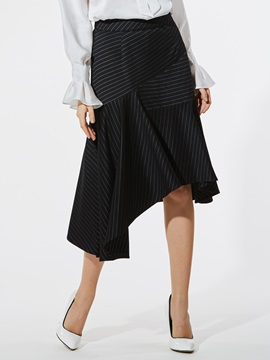 Asymmetric Stripe Knitted Womens Skirt