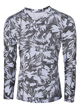 Tidebuy Long Sleeve V Neck Floral Print Mens T Shirt