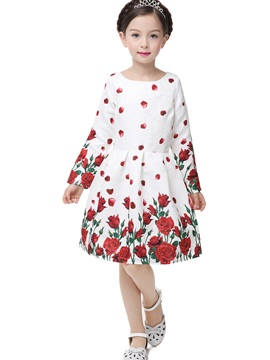 Beautiful Print Long Sleeve Zipper Girls A Line Dress