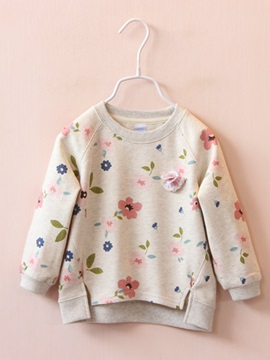 Floral Asymmetric Long Sleeve Girls Sweater