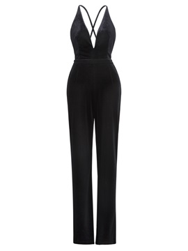 Plain Backless Womens Jumpsuit