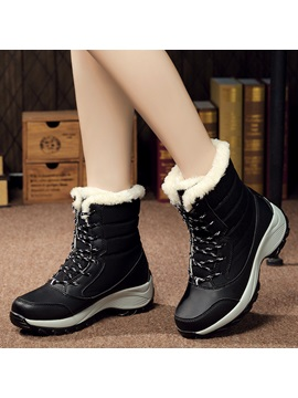 Pu Lace Lace Up Front Womens Snow Boots