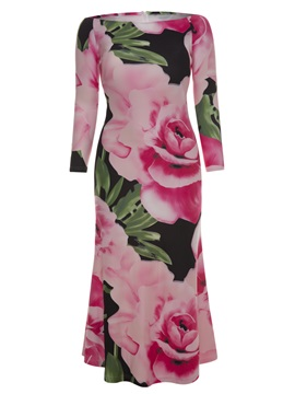 Floral Print Zipper Long Sleeve Plus Size Womens Maxi Dress