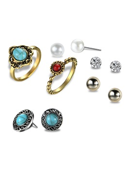 Alloy Imitation Turquoise Diamante Earrings Rings Jewelry Sets