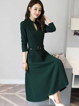 Plain V Neck Long Sleeve Womens Skater Dress